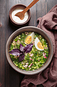 Cold Okroshka soup with vegetables, meat, white rye kvass and fresh herbs (Russian soup)