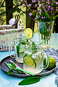 Lime and sage infused water with ice