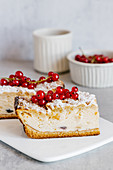 Baked vanilla cheesecake with crust and red currant