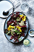 Beetroot - root, stalk and leave salad