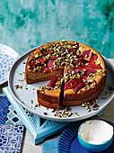 Persian love cake with poached quince