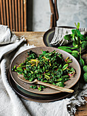 Stir-fried native greens (Asia)