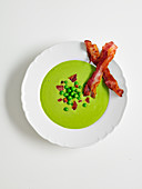 Pea Soup with crispy bacon