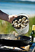 Cooking vongole in a pan on a camping grill
