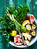 Fruit, ginger and fresh herbs for making infused water
