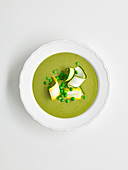 Courgette and Pea Soup with pesto