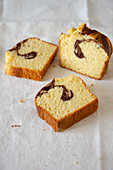 Slices of marble loaf cake