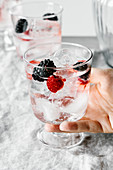 Infused refreshing tonic water with blackberries, raspberries and ice cubes