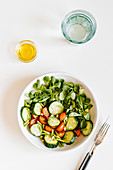 Fresh summer salad with cucumber
