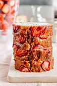 Strawberry vanilla pound cake lightly glazed