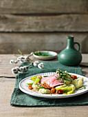 Braised veal with wild garlic and quark gnocchi