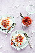 Mini pavlovas with rhubarb filling