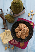 Gluten-free egg-shaped biscuits and Easter decorations
