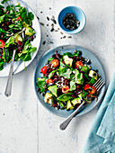 Avocado salad with kidney beans and coriander