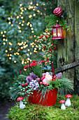 Weihnachtliches Gesteck in Rot und Grün mit Rose und Fliegenpilzen