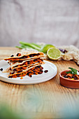 Jackfruit quesadillas with black beans, sweetcorn and coconut yoghurt