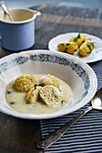 Vegan tofu meatballs in a caper sauce
