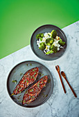 Vegan aubergine steaks with a miso glaze on Basmati rice