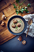 Roasted cream of mushroom soup with vegan tempeh dumplings