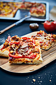 Vegan BBQ tempeh pizza