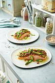 Salmon with an asparagus and nut crust