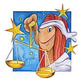 Libra zodiac sign, illustration