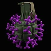Coronavirus hand grenade, illustration