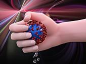 Hand crushing coronavirus, illustration