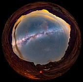 Milky Way over Picos de Europa mountains, full dome image