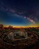 Milky Way and planets over Dolmen de Lacara, Spain