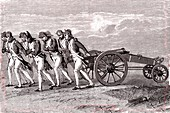 Soldiers dragging a cannon, illustration