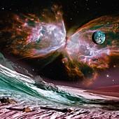 Butterfly nebula and exoplanets, illustration
