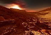 Gliese 581c exoplanet, illustration