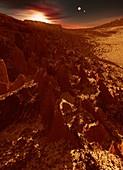 Gliese 667 triple-star system, illustration
