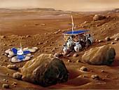 Mars Sojourner rover on Mars surface, illustration
