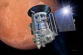 Mars 3 spacecraft entering Mars orbit, illustration