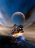 Spacecraft landing on planet, illustration