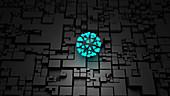 AI virus research, conceptual illustration