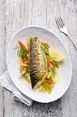 Trout with a leek and tomato medley