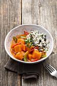 Pumpkin goulash with pumpkin seed rice