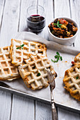 Vegan spelt waffles with Mediterranean vegetables
