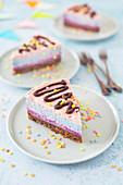 Vegan confetti cake (no bake cheesecake with coloured fruit powder)