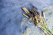 Summer crop bouquet with lavender and wheat