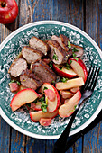 Duck breast with apples and rhubarb