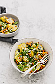 Roast potatoe salad with chanterelles