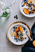 Summer porridge with blueberries and apricots