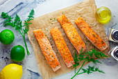 Salmon fillets with ingredients