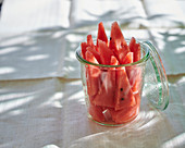 Watermelon pieces in a glass