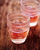 Rosé wine in crystal glasses