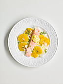 Orange fennel salad with poached salmon